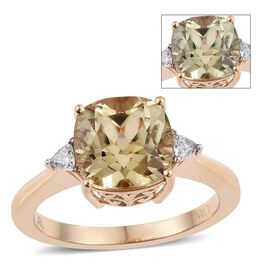 ILIANA 18K Yellow Gold 4 Carat AAA Turkizite Cushion Solitaire Ring with Trillion Diamond SI G-H.