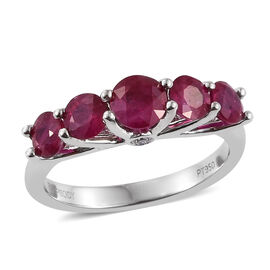RHAPSODY 950 Platinum AAAA Burmese Ruby (Rnd), Diamond (VS/E-F) Ring 2.000 Ct. Platinum Wt 4.60 Gms.