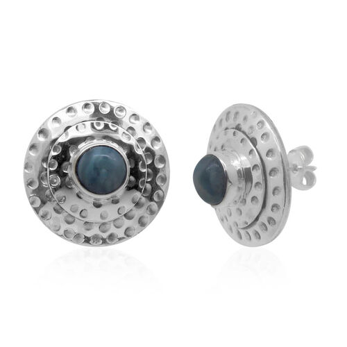 Royal Bali Collecton Larimar (Rnd) Stud Earrings (with Push Back) in Sterling Silver 3.910 Ct.