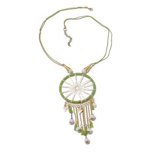Green Colour Dream Catcher Necklace (Size 22 with 2 inch Extender) with White Colour Beads and Matching Key Chain in Gold Tone