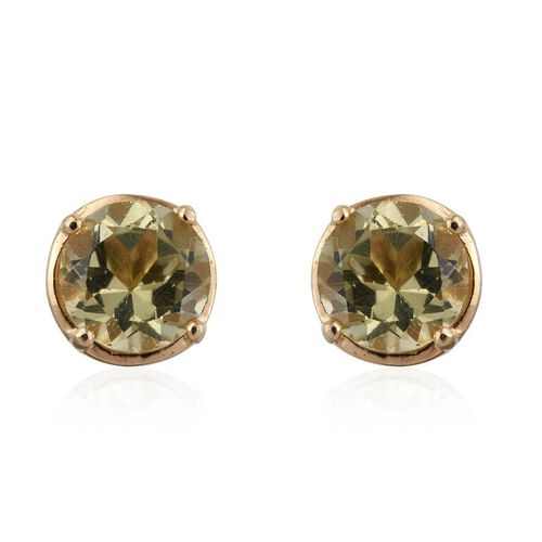 Natural Canary Apatite (Rnd) Stud Earrings (with Push Back) in 14K Gold Overlay Sterling Silver 2.000 Ct.