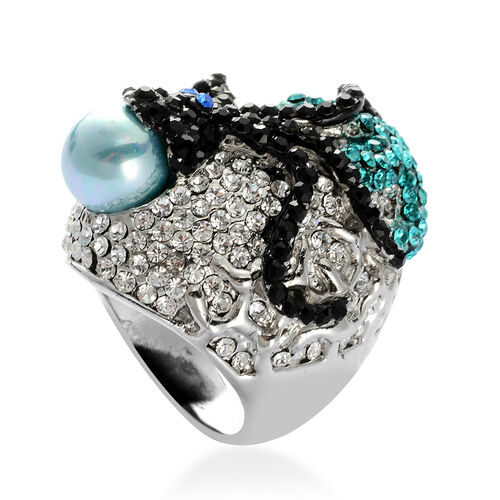 Blue Shell Pearl, Multi Colour Austrian Crystal Ring in Silver Tone