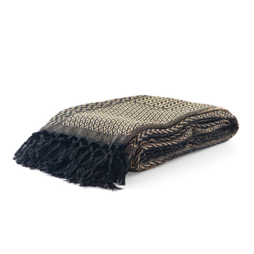 100% Cotton Black and Brown Colour Handloom Bedcover with Fringes at the Bottom (Size 270x220 Cm)