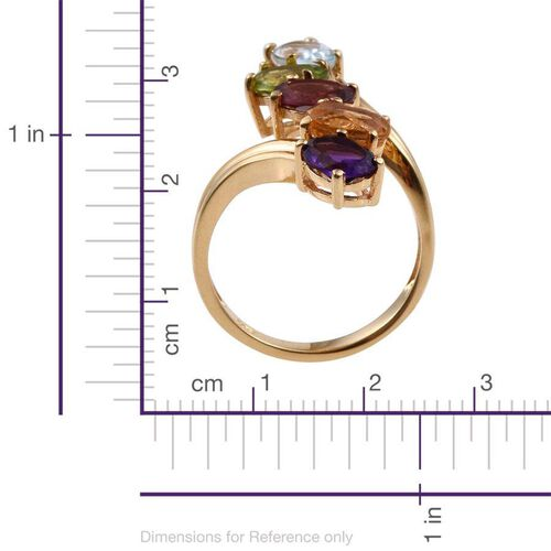 Rhodolite Garnet (Ovl), Sky Blue Topaz, Citrine, Hebei Peridot and Amethyst Crossover Ring in ION Plated 18K Yellow Gold Bond 3.500 Ct.