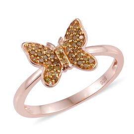 0.20 Carat Yellow Diamond Butterfly Ring in Rose Gold Overlay Sterling Silver