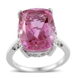 Kunzite Colour Quartz (Cush 12.50 Ct), Diamond Ring in Platinum Overlay Sterling Silver 12.540 Ct.
