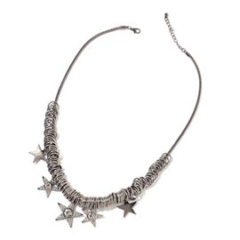 Simulated White Diamond and White Austrian Crystal Multi Star Necklace (Size 20 with 2 inch Extender) in Black Tone