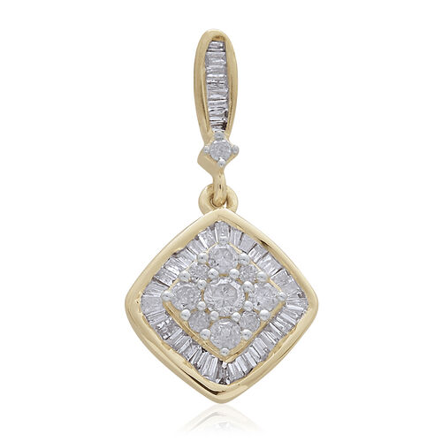 9K Yellow Gold SGL Certified Diamond (Rnd) (I3 G-H) Cluster Pendant 0.500 Ct.