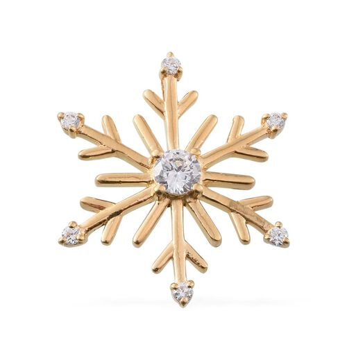 ELANZA AAA Simulated Diamond (Rnd) Snowflake Pendant in 14K Gold Overlay Sterling Silver