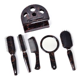 Set of 5 - Black Colour Hair Brushes including Flat Comb, Flat Modelling Comb, Roll Modelling Comb, Massage Comb and Mirror with Black Colour Steady Stand