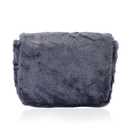 Faux Fur Grey Colour Crossbody Bag with Chain Strap (Size 24x19x10 Cm)