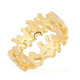 LucyQ Splat Ring in Yellow Gold Overlay Sterling Silver 4.02 Gms.