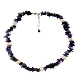 Amethyst and Fresh Water White Pearl (Rnd 10-11mm) Necklace (Size 18 with 2 inch Extender) in Silver Bond