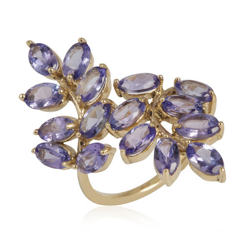 9K Y Gold Tanzanite (Ovl) Leaves Crossover Ring 3.750 Ct.