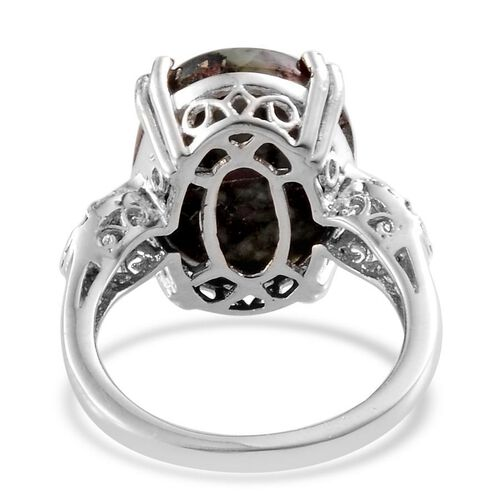 Natural Russian Eudialyte (Ovl 7.00 Ct), Diamond Ring in Platinum Overlay Sterling Silver 7.030 Ct.
