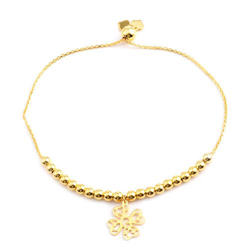14K Gold Overlay Sterling Silver Adjustable Four Leaf Clover Charm Bracelet (Size 6 to 7.5), Silver wt 4.90 Gms.