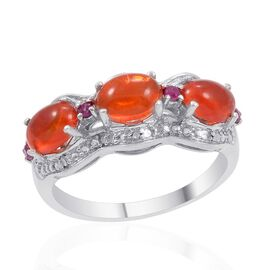 Orange Ethiopian Opal (Ovl), Burmese Ruby and Diamond Ring in Platinum Overlay Sterling Silver 1.500 Ct.