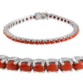 Natural Mediterranean Coral (Ovl) Bracelet in Platinum Overlay Sterling Silver (Size 7.5) 6.500 Ct.