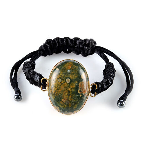 Shamballa Green Ocean Jasper (57.750 Ct), Hematite Copper Friendship Bracelet  (Size Adjustable) 62.650 Ct.