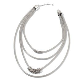 4 Strands Silver Tone Necklace (Size 18) with Rings