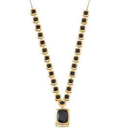 Limited Edition-Boi Ploi Black Spinel (Cush 22.50 Ct) Necklace (Size 18) in 14K Yellow Gold Overlay Sterling Silver 53.000 Ct.
