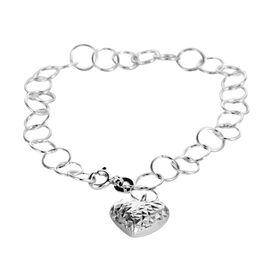 JCK Vegas Collection - Designer Inspired - Sterling Silver Open Circle Bracelet with Heart Charm, Silver wt 3.50 Gms.Size 7.5