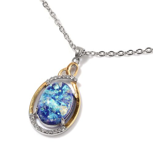 Simulated Blue Opal and White Austrian Crystal Pendant in ION Plated Yellow Gold with Stainless Steel Chain (Size 18)