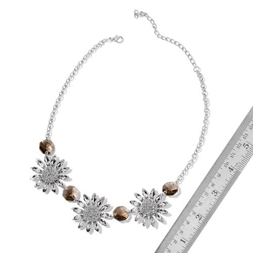 Simulated Grey Diamond Sunfloral BIB Necklace (Size 20 with 2 inch Extender) in Silver Tone