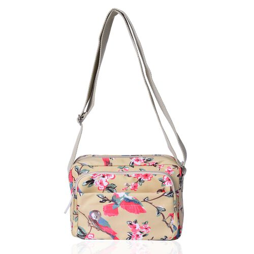 Beige and Multi Colour Floral and Birds Pattern Crossbody Bag with External Zipper Pocket and Adjustable Shoulder Strap (Size 23X18.5X7.5 Cm)