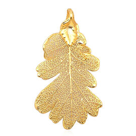 Lacey Oak Pendant (Size 4.5 - 5 Cm) Dipped in 24K Yellow Gold