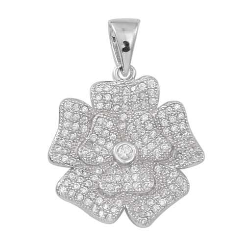 AAA Simulated White Diamond (Rnd) Floral Pendant in Rhodium Plated Sterling Silver