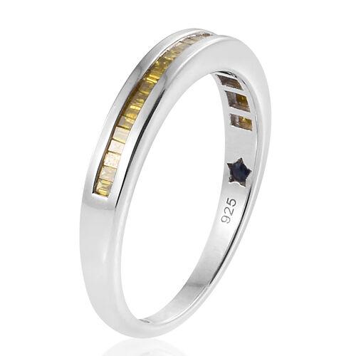 GP Yellow Diamond (Bgt), Kanchanaburi Blue Sapphire Ring in Platinum Overlay Sterling Silver 0.350 Ct.
