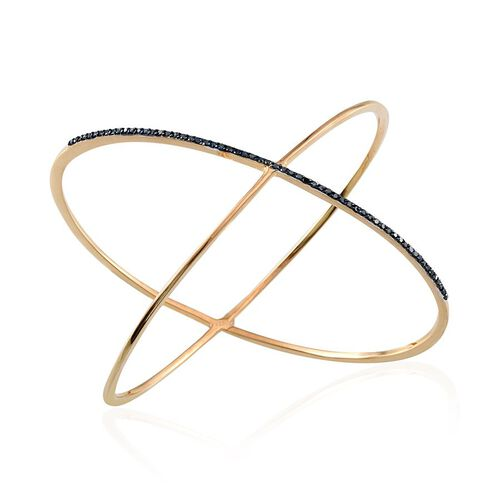 Blue Diamond (Rnd) Criss Cross Bangle in 14K Gold Overlay Sterling Silver (Size 7.5) 0.500 Ct.