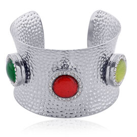 Green and Red Resin, White Austrian Crystal Cuff Bangle (Size 7.5) in Silver Tone