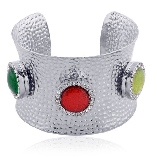 Simulated, Emerald, Simulated Coral, Simulated Peridot and White Austrian Crystal Cuff Bangle (Size 7.5) in Silver Tone