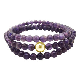 Amethyst Brazil (Rnd) Necklace (Size 24) in Yellow Gold Bond 150.000 Ct.