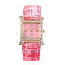 STRADA Japanese Movement Pink Dial with White Austrian Crystal Water Resistant Watch in Gold Tone with Stainless Steel Back and Pink Strap