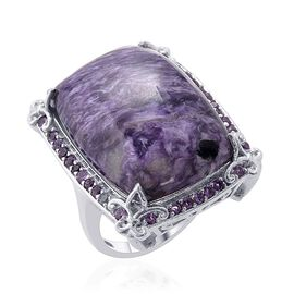Russian Charoite (Cush 25.50 Ct) Zambian Amethyst Ring in Platinum Overlay Sterling Silver  26.500 Ct.