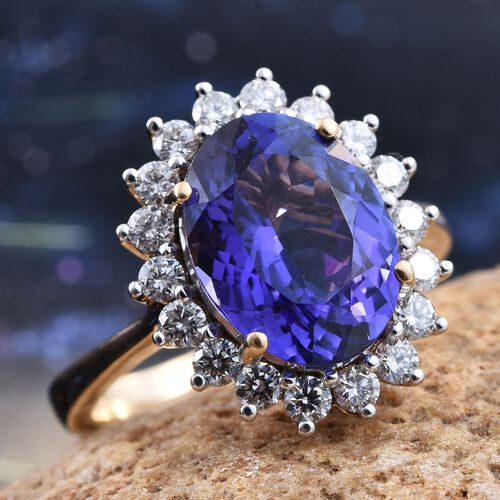 ILIANA 18K Yellow Gold 5.50 Carat AAA Tanzanite Oval, Diamond SI G-H Ring.