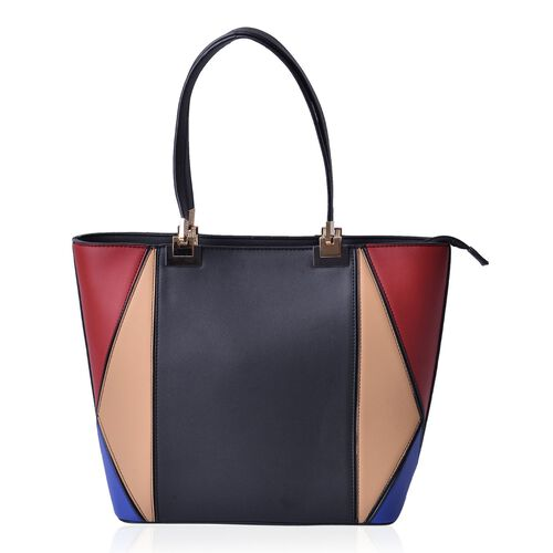 Black, Red, Blue and Light Tan Colour Tote Bag (Size 42x30x14 Cm)
