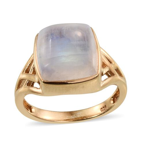 Natural Rainbow Moonstone (Cush) Ring in 14K Gold Overlay Sterling Silver 10.750 Ct.