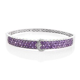 Amethyst (Rnd), Diamond Buckle Bangle (Size 7.5) in Platinum Overlay Sterling Silver 5.260 Ct.
