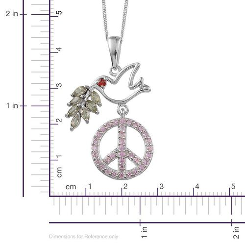 Green Sapphire (Mrq), Pink Sapphire and Red Sapphire Symbol of Peace Pendant With Chain in Platinum Overlay Sterling Silver 2.290 Ct.