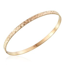 Jewels of India Yellow Gold Overlay Sterling Silver Bangle (Size 7.5), Silver wt 8.04 Gms.