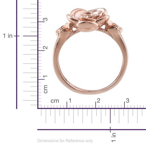Rose Gold Overlay Sterling Silver Floral Ring, Silver wt 5.65 Gms.