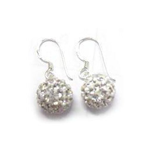 ELANZA White Austrian Crystal Earrings in Sterling Silver  8.000  Ct.