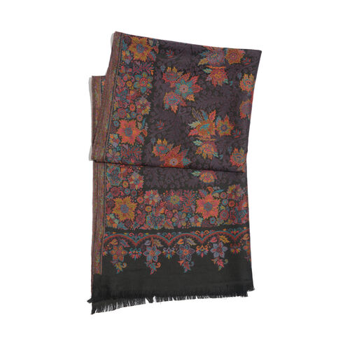 Super Fine 100% Merino Wool Multi Colour Flowers Embroidered Black Colour Scarf (Size 200x70 Cm) Weight 280 Gram