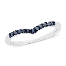 Blue Diamond (Rnd) Wishbone Ring in Platinum Overlay Sterling Silver 0.150 Ct.