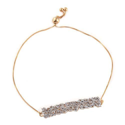 Designer Inspired - Firework Diamond (Bgt) Adjustable Bracelet (Size 6.5 to 7.5) in 14K Gold Overlay Sterling Silver 0.750 Ct.