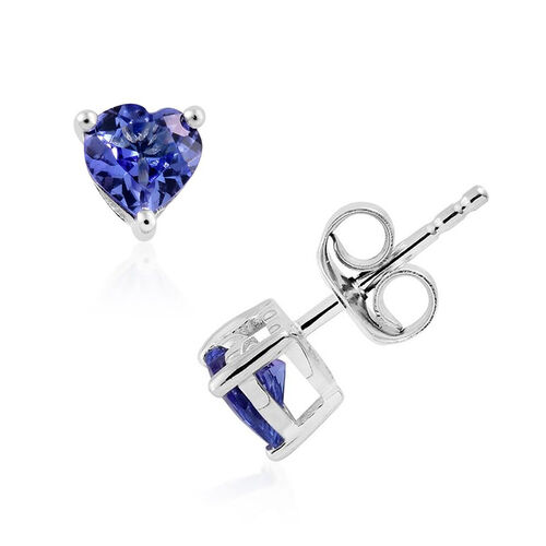 9K White Gold 0.75 Carat Tanzanite Heart Solitaire Stud Earrings with Push Back